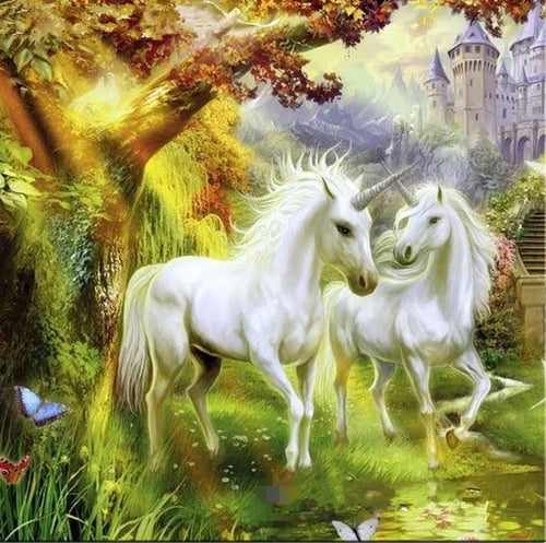5D Diamond Painting Two Unicorns Under a Tree Kit
