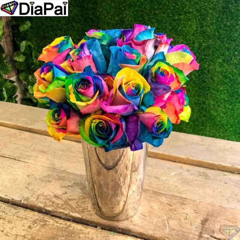5D Diamond Painting Vase of Rainbow Roses Kit