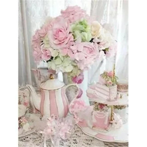 5D Diamond Painting Girls Tea Party with a Cat Kit