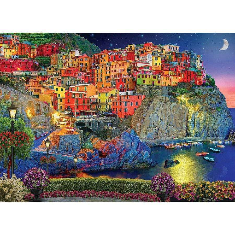 5D Diamond Painting Village by the Sea Kit