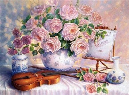 5D Diamond Painting Violin and Pink Roses Kit