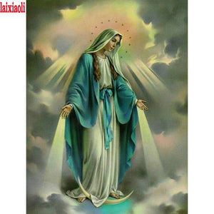 5D Diamond Painting Virgin Mary in the Clouds Kit