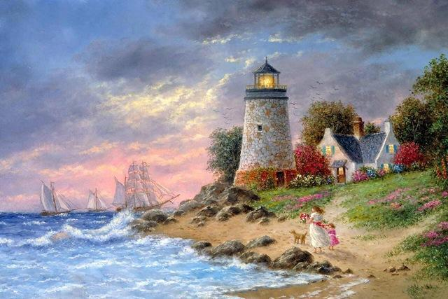5D Diamond Painting Walk along the Seaside Lighthouse Kit