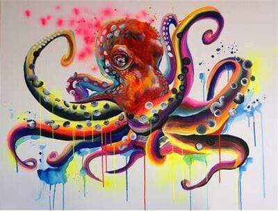 5D Diamond Painting Water Color Octopus Kit