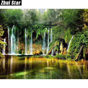 5D Diamond Painting Waterfalls in the Jungle Kit