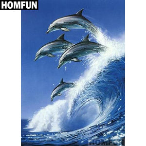 5D Diamond Painting Wave Jumping Dolphins Kit