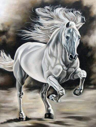 5D Diamond Painting White and Gray Horse Kit