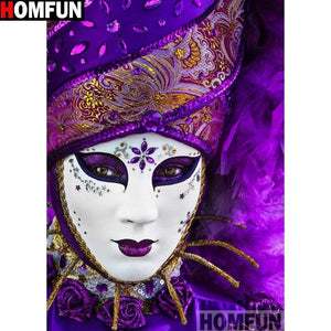 5D Diamond Painting White and Purple Mask Kit