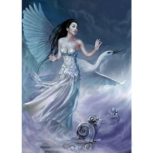 5D Diamond Painting White Bird and a Girl Kit
