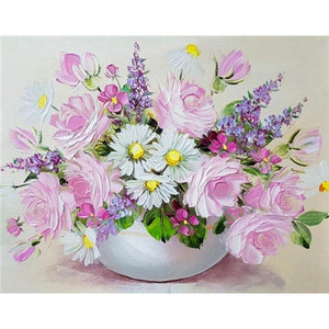 5D Diamond Painting White Bowl Daisies & Pink Roses Kit