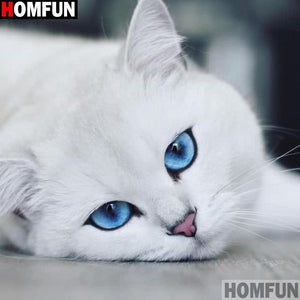 5D Diamond Painting White Cat with Blue Eyes Kit