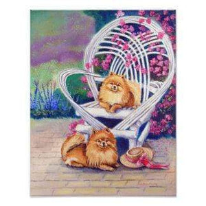 5D Diamond Painting White Chair and Two Pomeranian Kit
