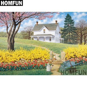 5D Diamond Painting White Farm House on the Hill Kit