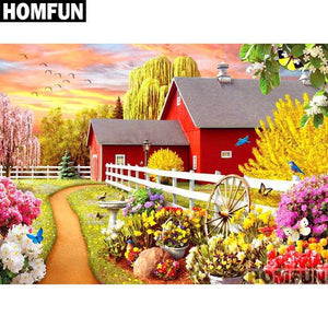5D Diamond Painting White Fence Flowers Kit