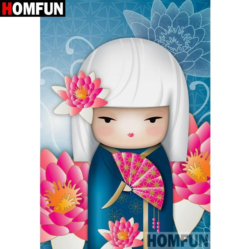 5D Diamond Painting White Hair Geisha Girl Kit