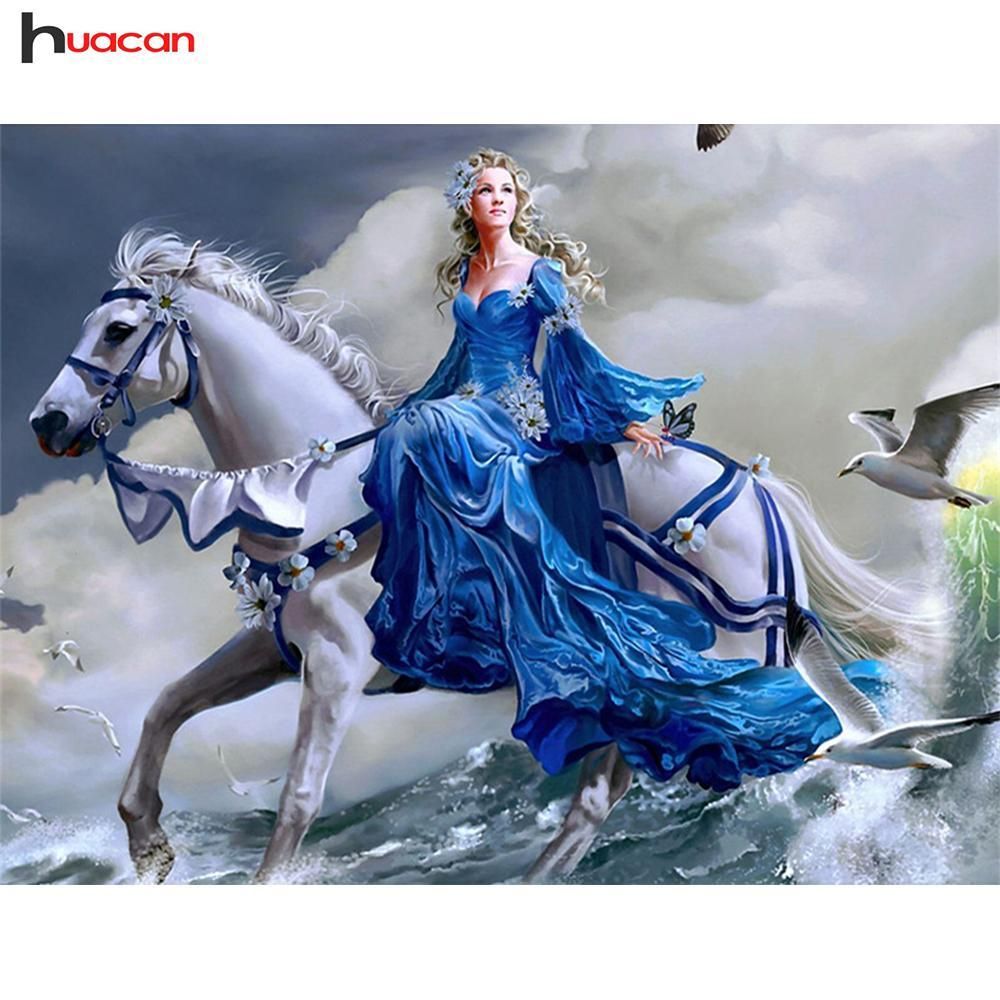 5D Diamond Painting White Horse and Woman Kit