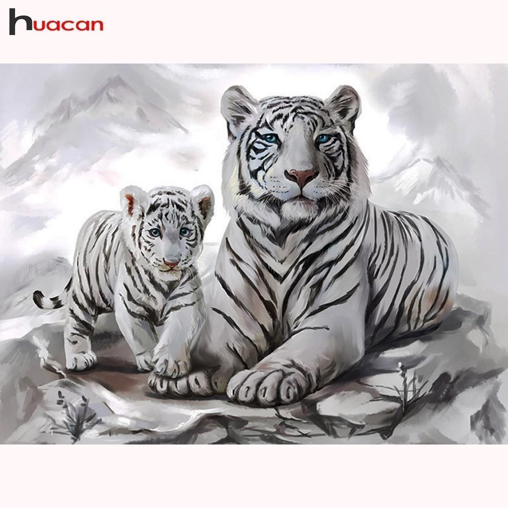 5D Diamond Painting White Tiger and Cub Kit