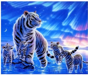 5D Diamond Painting White Tigers Under the Stars kit