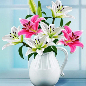 5D Diamond Painting White Vase of Lilies Kit
