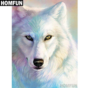5D Diamond Painting White Wolf Abstract Color Kit