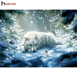 5D Diamond Painting White Wolf and the Mouse Kit