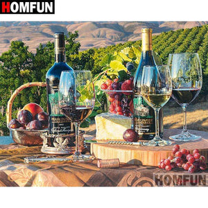 5D Diamond Painting Wine and Cheese at the Vineyard Kit