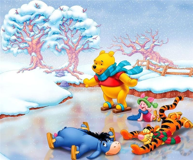 5D Diamond Painting Winnie the Pooh and Friends Ice Skating Kit