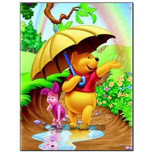 5D Diamond Painting Winnie the Pooh and Piglet Rainbow Kit