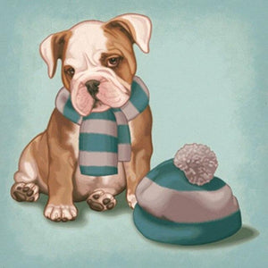 5D Diamond Painting Winter Scarf Puppy Kit
