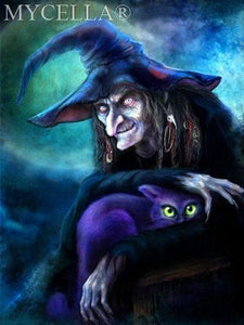 5D Diamond Painting Witch and a Purple Cat Kit