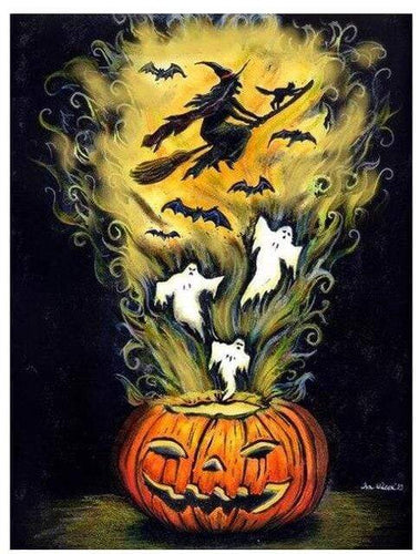 5D Diamond Painting Witch & Ghost Jackolantern Kit