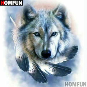 5D Diamond Painting Wolf and Feathers Kit