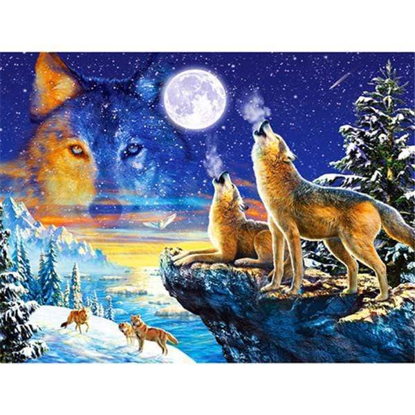 5D Diamond Painting Wolf Collage Kit