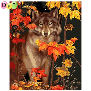 5D Diamond Painting Wolf in the Leaves Kit