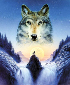5D Diamond Painting Wolf on the Rock Kit