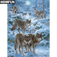 5D Diamond Painting Wolf Pack in the Snow Kit