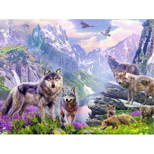 5D Diamond Painting Wolves in the Mountains Kit