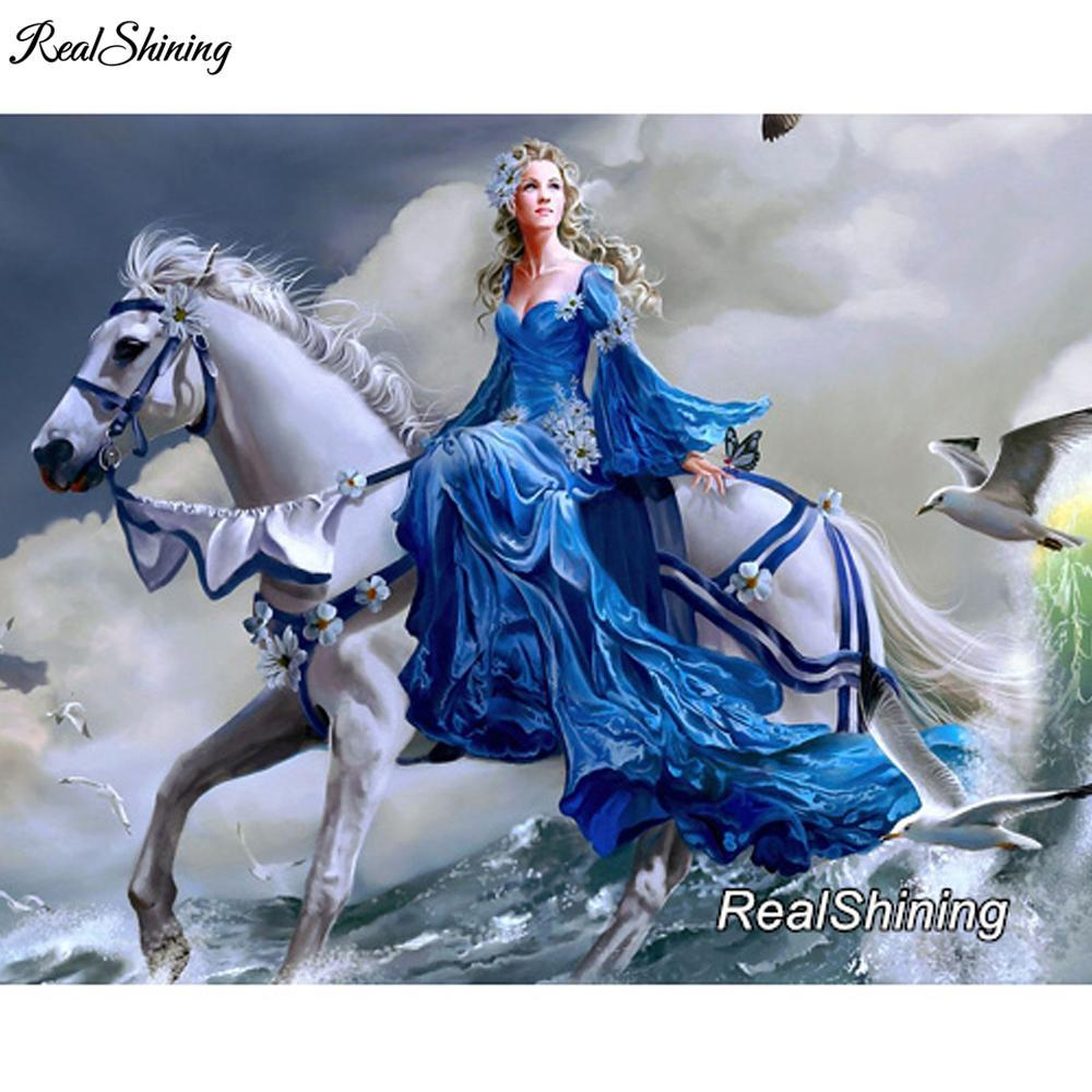 5D Diamond Painting Woman and White Horse Kit