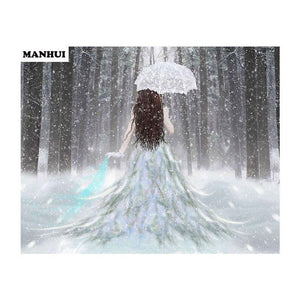 5D Diamond Painting Woman in White Snowfall Kit