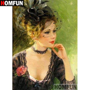 5D Diamond Painting Woman with Black Netted Hat Kit