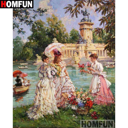 5D Diamond Painting Women and Flowers by the Lake Kit