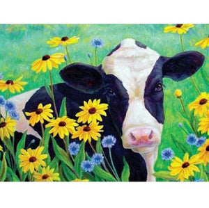 5D Diamond Painting Yellow & Blue Flower Cow Kit