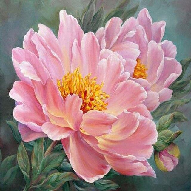 5D Diamond Painting Yellow Center Pink Flowers Kit