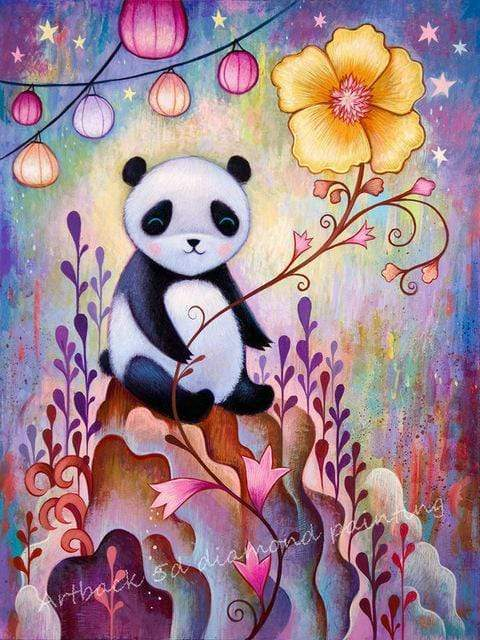 5D Diamond Painting Yellow Flower Panda Kit