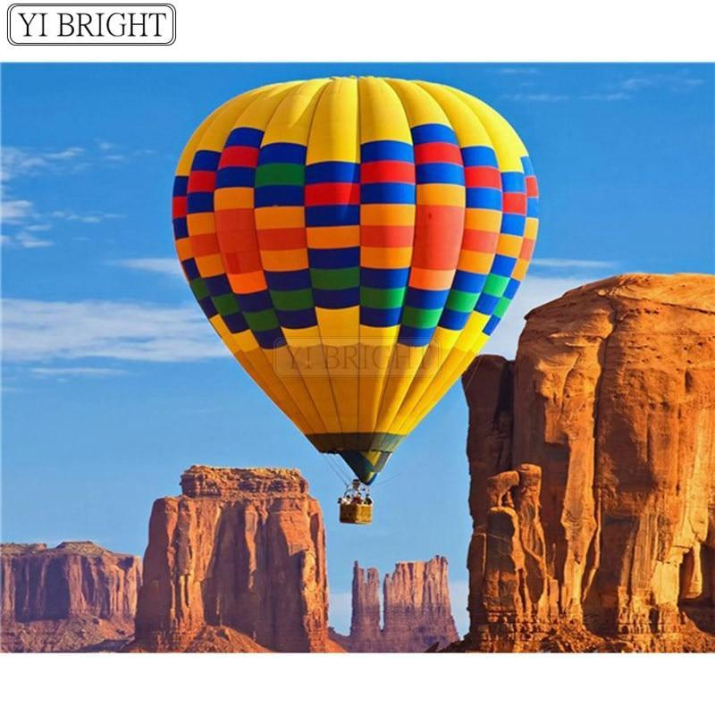 5D Diamond Painting Yellow Hot Air Balloon Kit