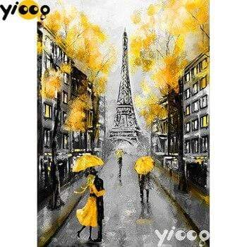 5D Diamond Painting Yellow Umbrella Eiffel Tower Kit