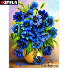 5D Diamond Painting Yellow Vase of Blue Flowers Kit
