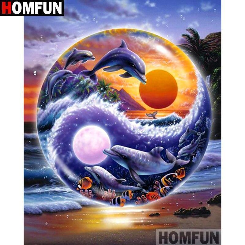 5D Diamond Painting Yin Yang Dolphin Kit