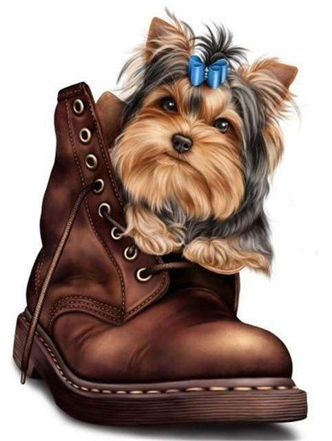 5D Diamond Painting Yorkie in a Boot Kit