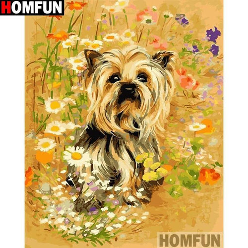 5D Diamond Painting Yorkie in the Daisies Kit